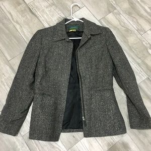 Ralph Lauren Wool Zipper front Tweed Jacket